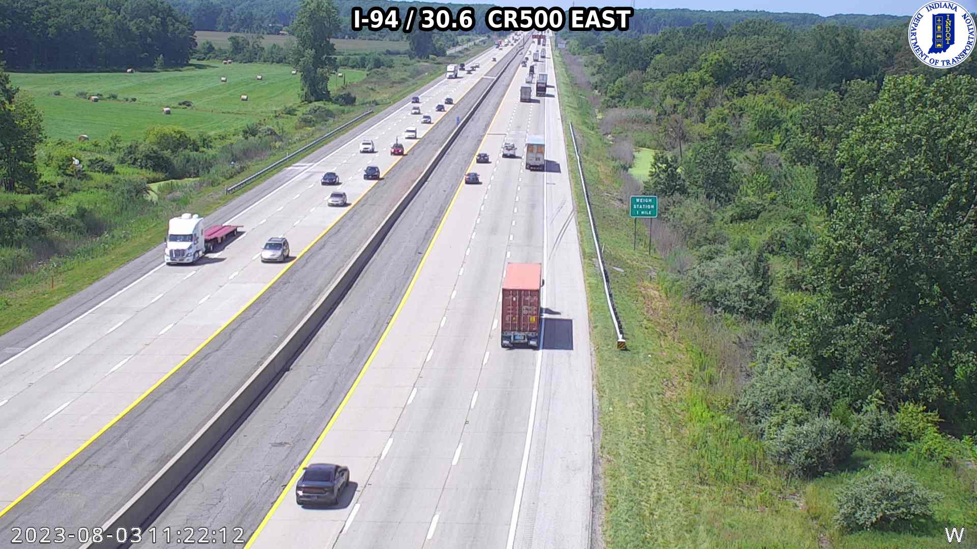 camera snapshot for WB I-94 at County Road 500 E (-0.2 miles)